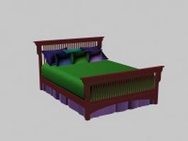 Wood stickley bed 3d preview