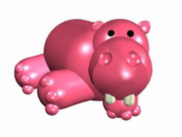 Pink cartoon hippo 3d preview