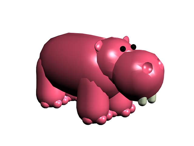 Pink cartoon hippo 3d rendering