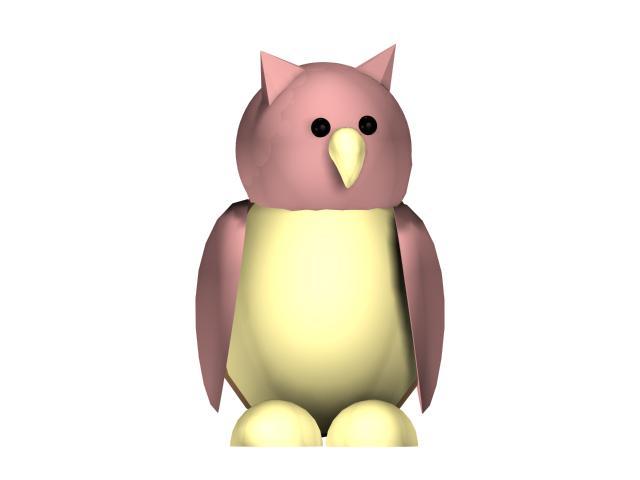 Cartoon owl 3d rendering