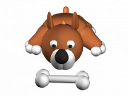 Cartoon dog and bone 3d model preview