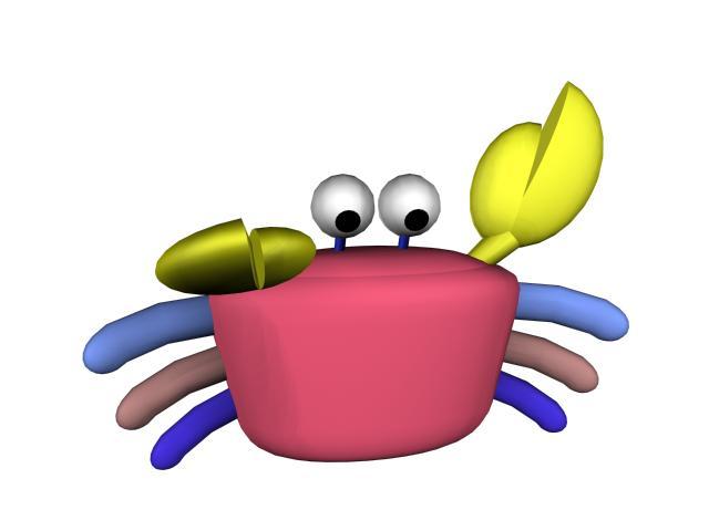 Cute cartoon crab 3d rendering