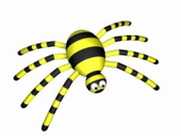Yellow cartoon spider 3d model preview