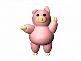 Pink cartoon pig 3d preview