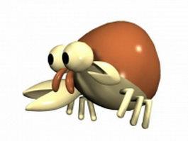 Cartoon hermit crab 3d model preview