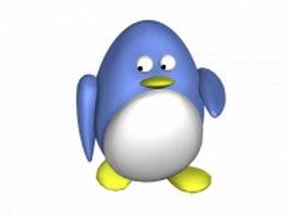 Cute cartoon penguin 3d model preview