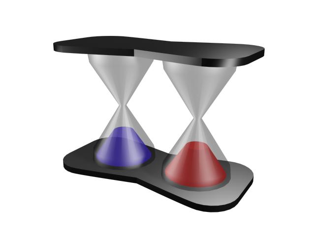 Two hourglass with frame 3d rendering