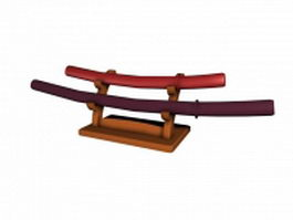 Decorative katana sword 3d preview