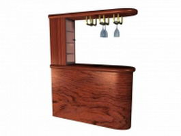 Kitchen bar counter cabinet 3d preview