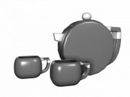 Vintage ceramic tea sets 3d model preview