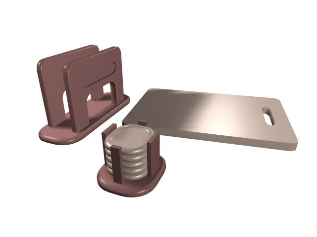 Cutting board and plate rack 3d rendering