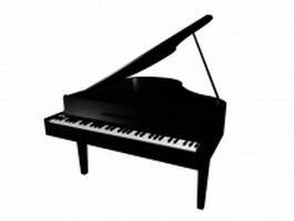 Black grand piano 3d model preview