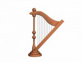 Pedal harp 3d model preview
