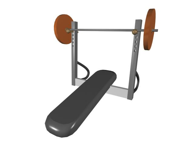 Weight bench with squat rack 3d rendering