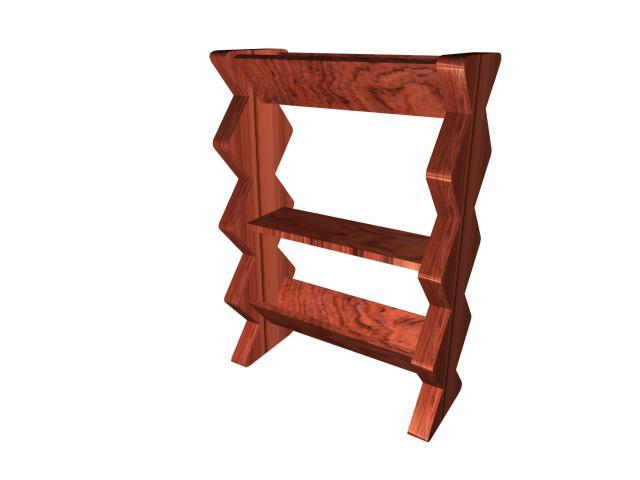 Vintage wooden shoe rack 3d rendering