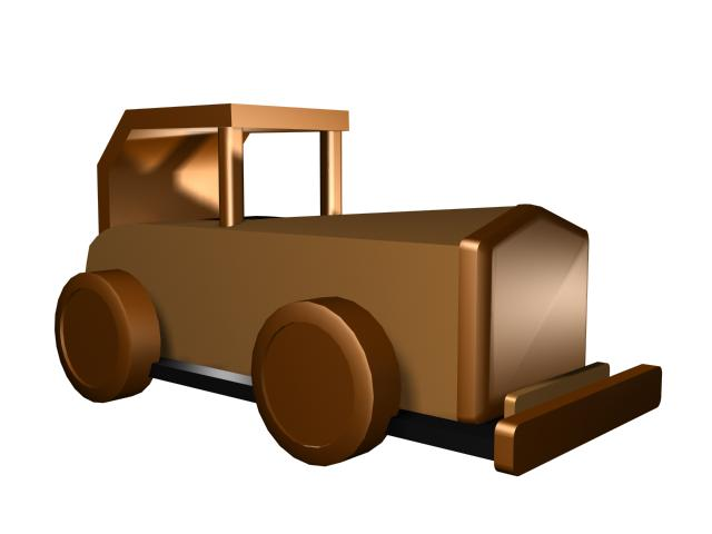 Wood toy car 3d rendering