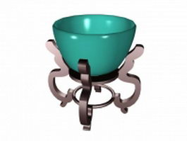 Decorative pottery bowl 3d model preview