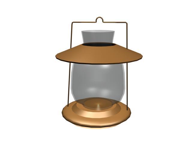 Decorative glass oil lamp 3d rendering