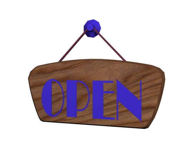Hanging shop sign 3d rendering