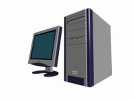 Computer with Philips LCD monitor 3d model preview