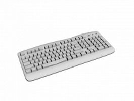 White computer keyboard 3d preview