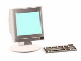 Used monitor and keyboard 3d model preview