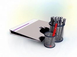 Pen holder and file folder 3d preview