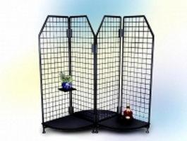 Office metal mesh desktop shelf 3d model preview