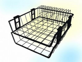 Office metal mesh document tray 3d model preview