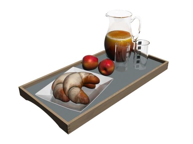 Breakfast set 3d rendering