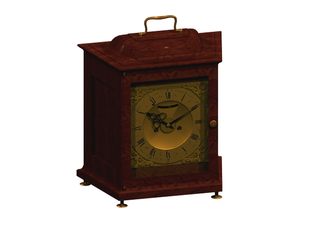 Antique swiss table clock 3d rendering