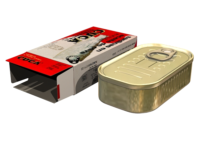 Canned sardines 3d rendering