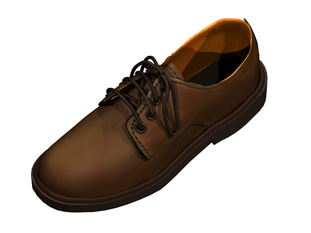 Brown men leather shoe 3d rendering