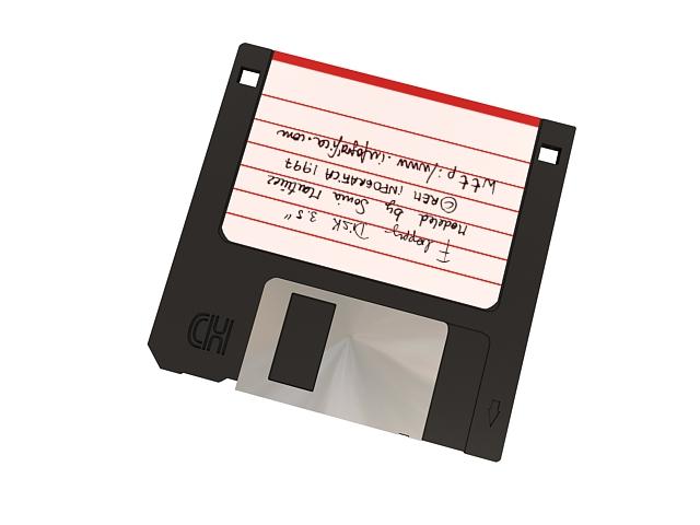 Floppy disk 3.5 diskette 3d rendering
