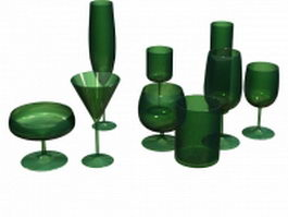 Drinking glasses 3d preview