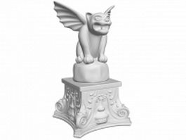 Winged lion statue 3d model preview