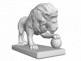 Lion statue 3d model preview