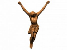 Bronze figure of the crucified Christ 3d preview