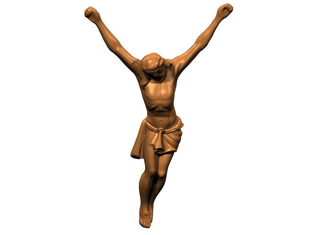 Bronze figure of the crucified Christ 3d rendering