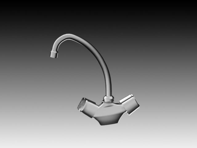Double handle vertical kitchen faucet 3d rendering