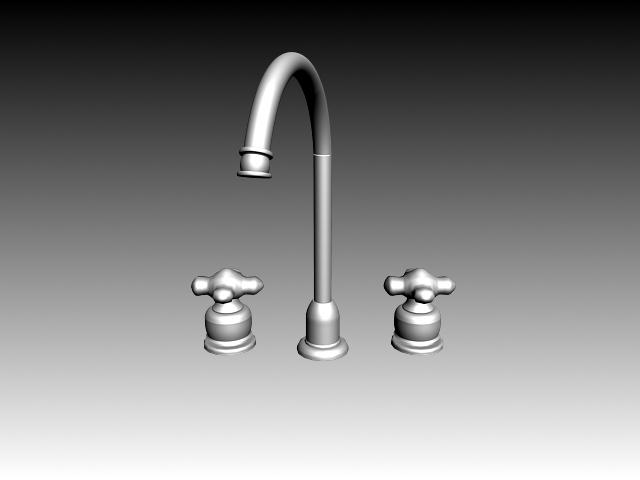 Double-handle kitchen faucet mixer 3d rendering