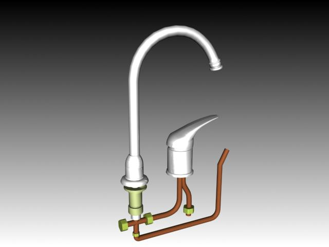 Kitchen faucet hot and cold water mixer 3d rendering