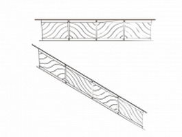 Handrails for interior stairway 3d model preview