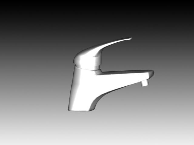 White brass basin faucet 3d rendering