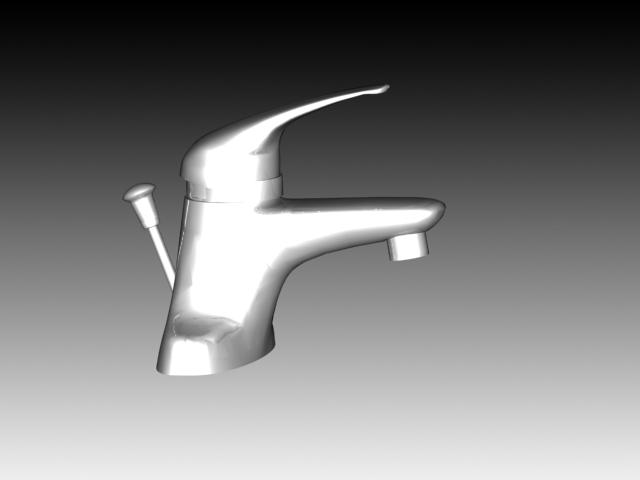Metered basin faucet 3d rendering