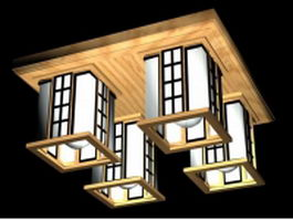 Square ceiling lights 3d model preview