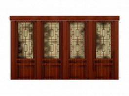 Antique interior partition doors 3d model preview