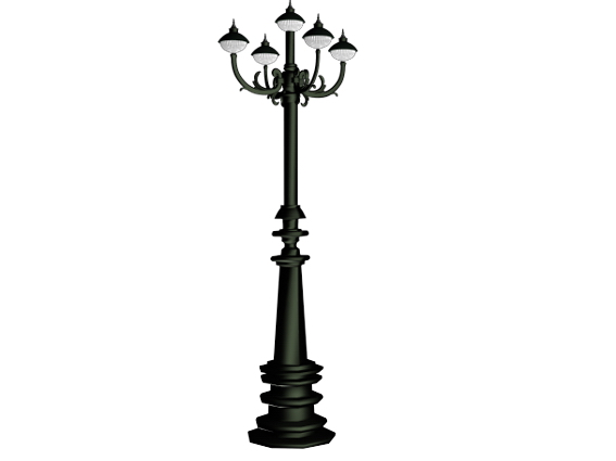 Cast iron street lamp 3d rendering