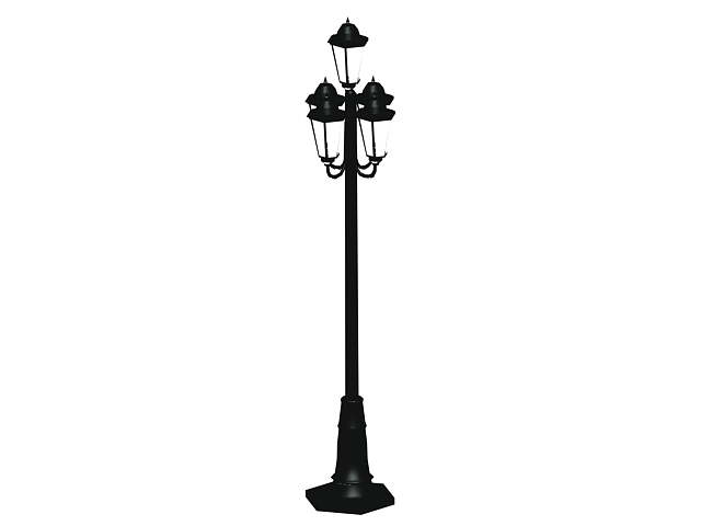 Antique cast iron street lamp 3d rendering