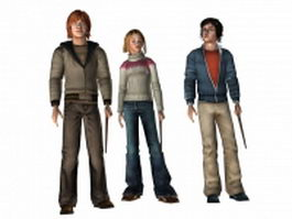Harry Potter, Ron and Hermione 3d preview